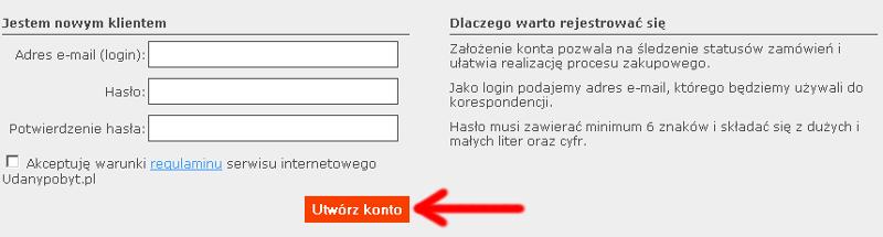 Zakładanie konta w stsremie Udanypobyt - kliknięcie 3