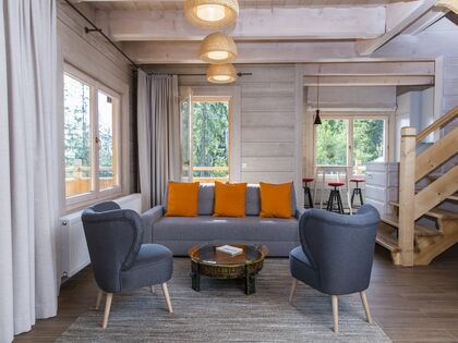 apartament 1050 West 2 Kościelisko Salon, po prawej  aneks kuchenny.