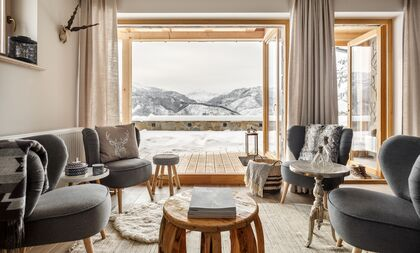 apartament 1050 South Kościelisko Zimowy widok na Tatry z salonu.